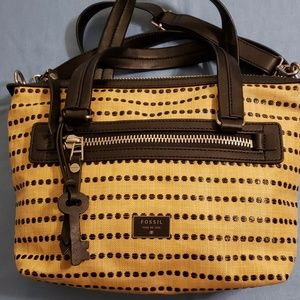 Fossil Beige and Black Satchel